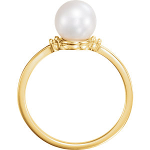 14K Yellow Freshwater Cultured Pearl & .025 CTW Diamond Ring
