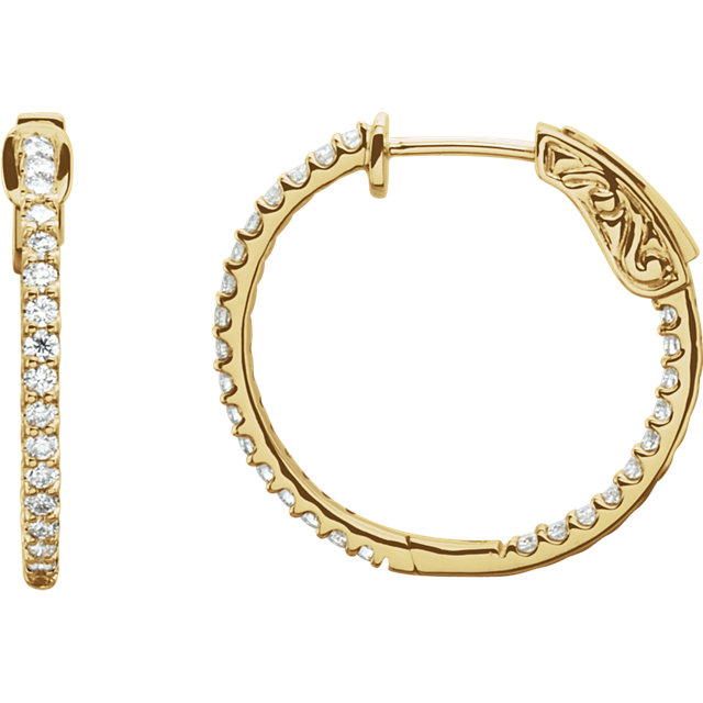 14K Yellow 3/4 CTW Diamond Inside/Outside Hoop Earrings