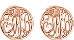 14K Rose 10 mm 3-Letter Script Monogram Earrings