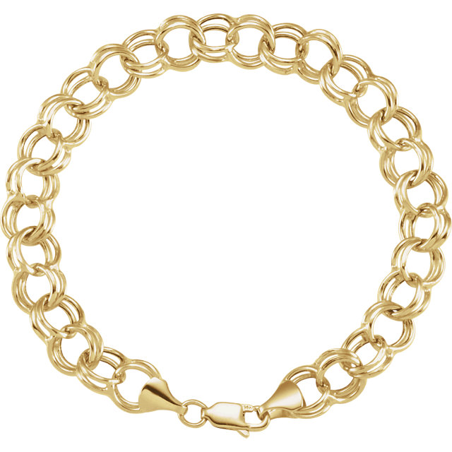 14K Yellow 5.7 mm Double Link Charm 7.25