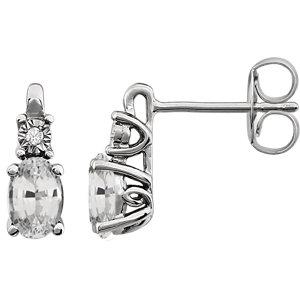 Earrings , 14K White Created White Sapphire & .02 CTW Diamond Earrings 7