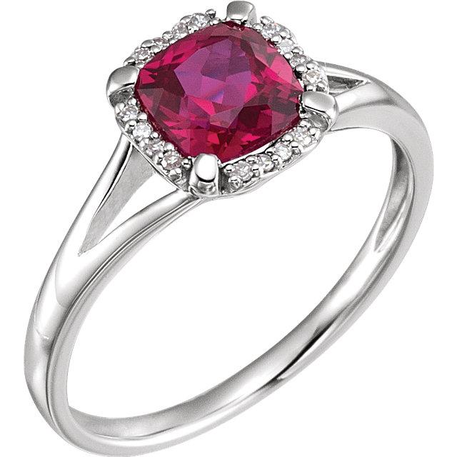 14K White Created Ruby & .05 CTW Diamond Ring