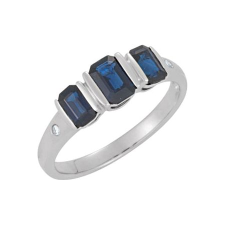 Blue Sapphire & Diamond Accented 3-Stone Ring