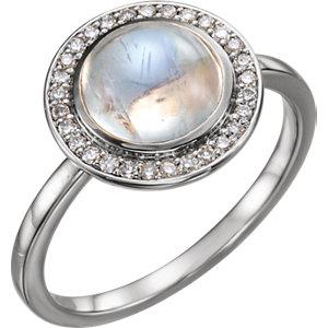 Fashion Rings , Platinum Rainbow Moonstone & 1/8 CTW Diamond Ring