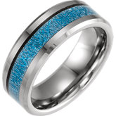 Tungsten Band with Imitation Blue Meteorite Inlay