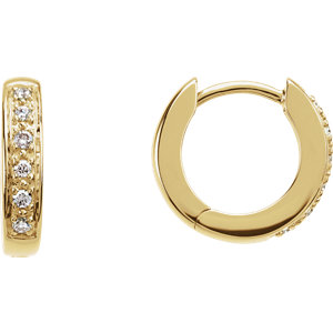 14K Yellow 1/10 CTW Diamond Hoop Earrings