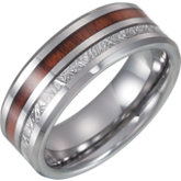 Tungsten Band with Imitation Meteorite & Wood Inlay