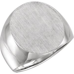 Fashion Rings , 14K White 20x17mm Men's Solid Signet Ring
