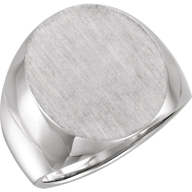 14K White 20x17mm Men-s Solid Signet Ring