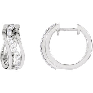 14K White 1/5 CTW Diamond Hoop Earrings