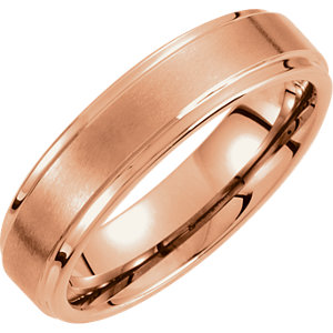 Tungsten & Rose PVD 4mm Ridged Band with Satin Center Size 9.5