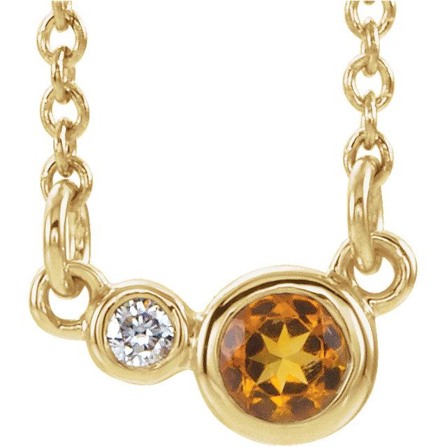 14K Yellow Citrine & .02 CTW Diamond 16