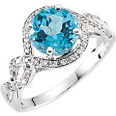 Swiss Blue Topaz & Diamond Infinity-Inspired Ring