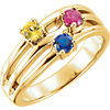 14K Yellow 3-Stone Family Ring Mounting