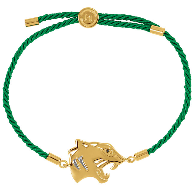 18K Yellow Vermeil Tiger Symbol for Power Green Rope 8