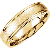 Comfort-Fit Carved Foil Finish Band