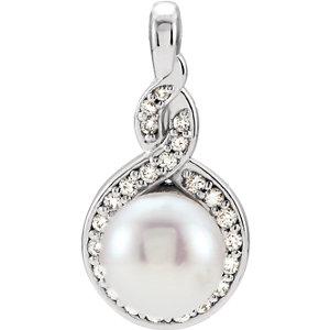 Pendant, 14K White Freshwater Cultured Pearl & 1/10 CTW Diamond Pendant