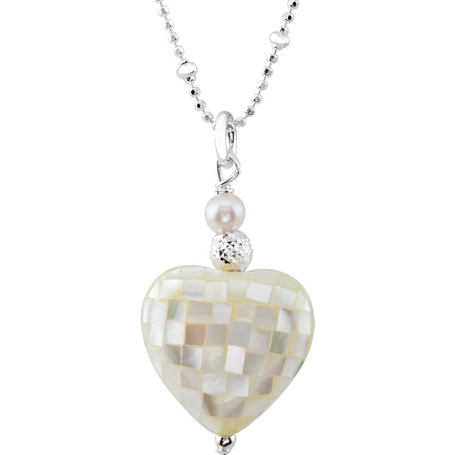 Sterling Silver Mother of Pearl Heart 18