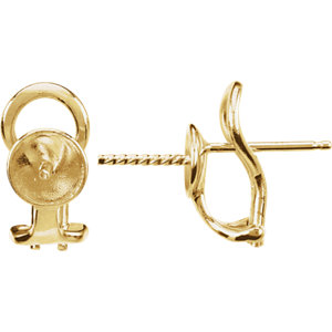 14k Yellow Omega Earring Mounting For Pearl