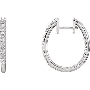 14K White 1/4 CTW Diamond Hinged Inside-Outside Hoop Earrings