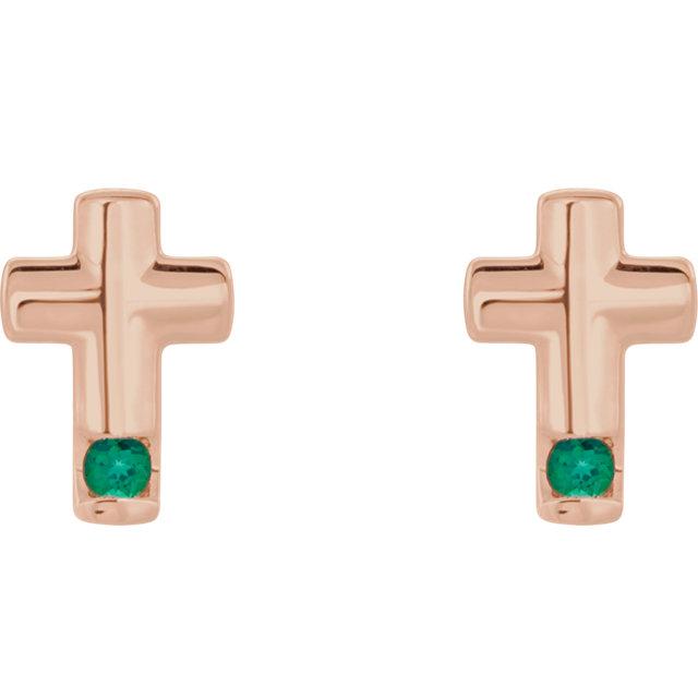 14K Rose Emerald Cross Earrings