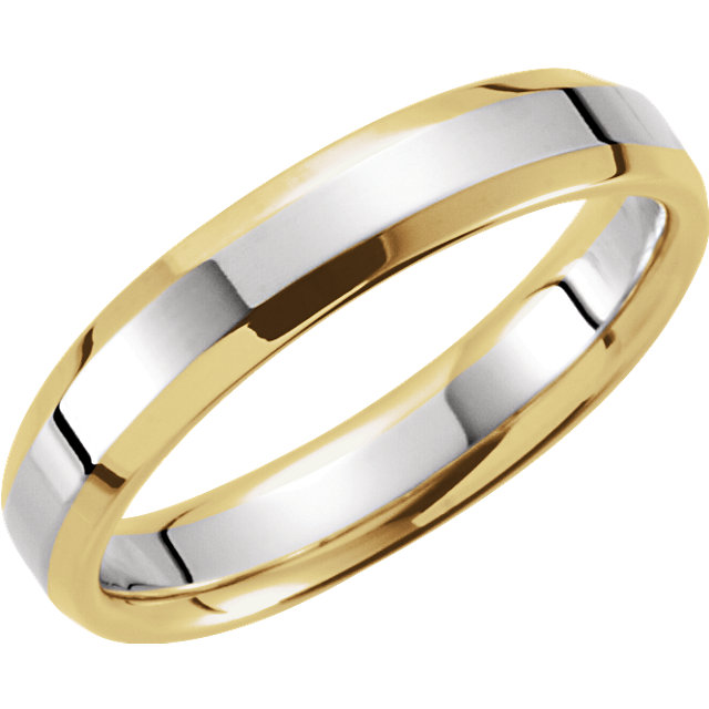 14K Yellow & White 4 mm Comfort-Fit Beveled Edge Band Size 8