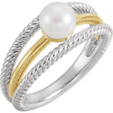 Negative Space Rope Pearl Ring
