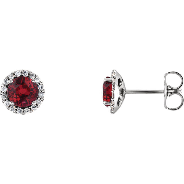14K White Ruby & 1/8 CTW Diamond Earrings