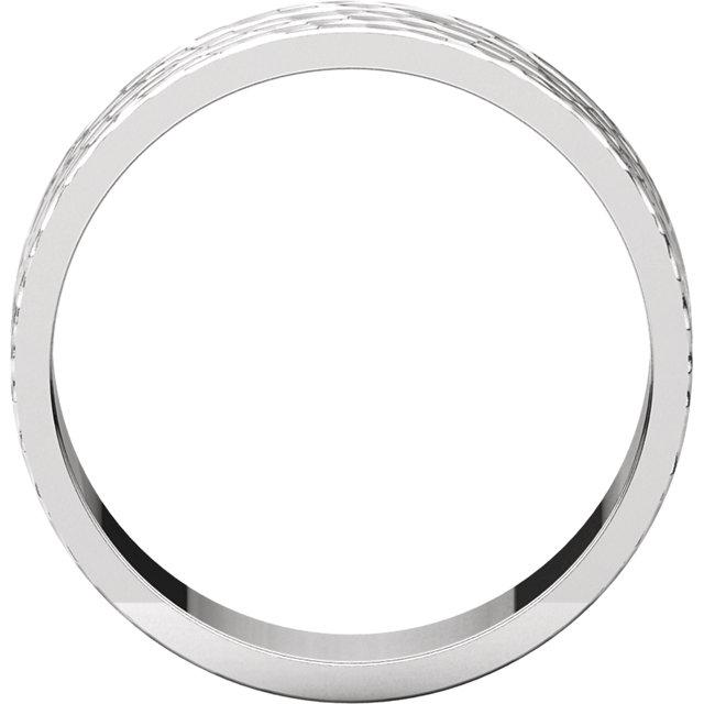 Platinum 6 mm Flat Band with Hammer Finish Size 7