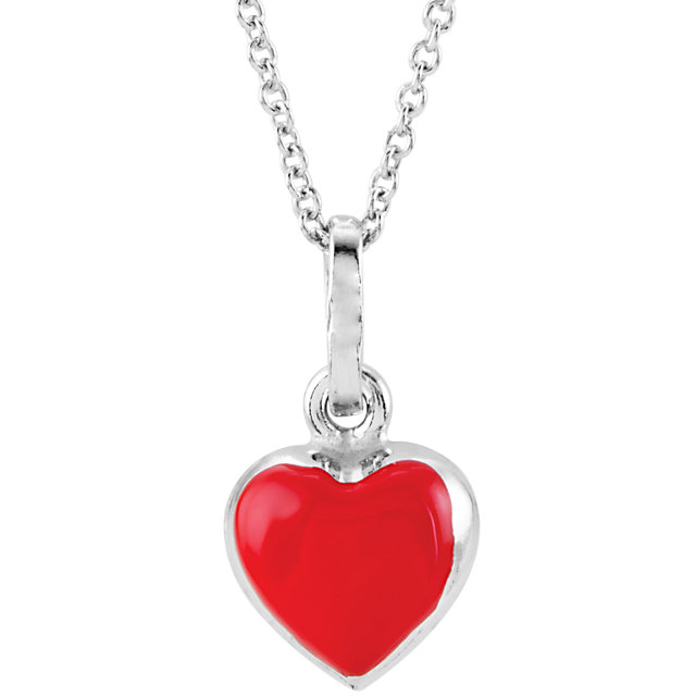 Sterling Silver Red Enamel Puff Heart 14-16