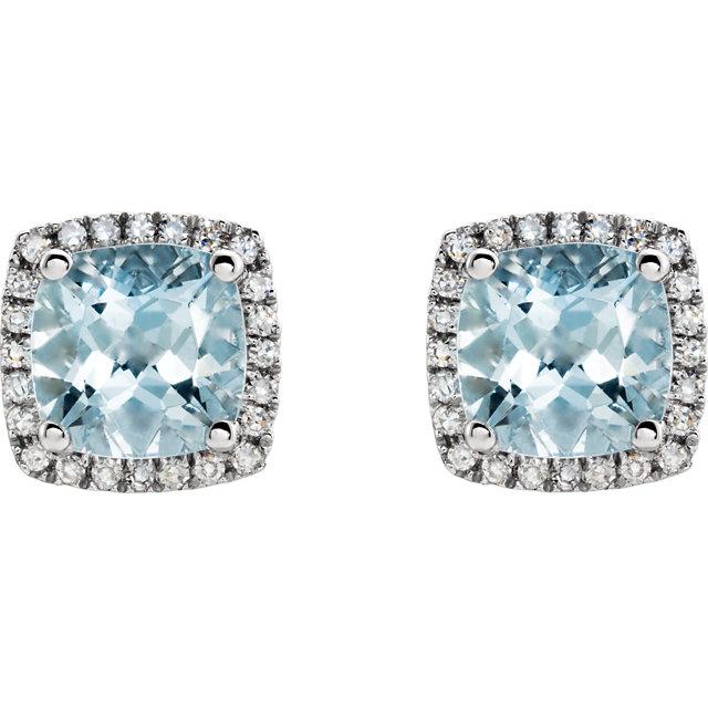 14K White Aquamarine & 1/8 CTW Diamond Earrings