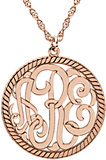 14K Rose 25 mm 3-Letter Script Monogram Necklace with Rope Border