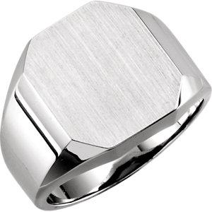 Fashion Rings , 10K White 16x14mm Men's Signet Ring