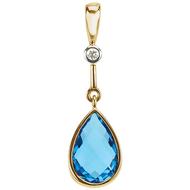 14K Yellow Swiss Blue Topaz & .015 CTW Diamond Pendant