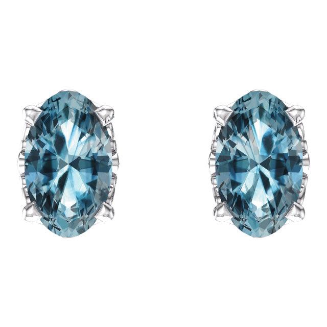14K White Sky Blue Topaz Earrings