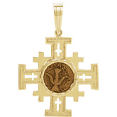 Jerusalem Cross Pendant with Widow's Mite Coin