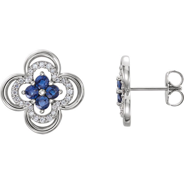 14K White Chatham® Created Blue Sapphire & 1/5 CTW Diamond Clover Earrings