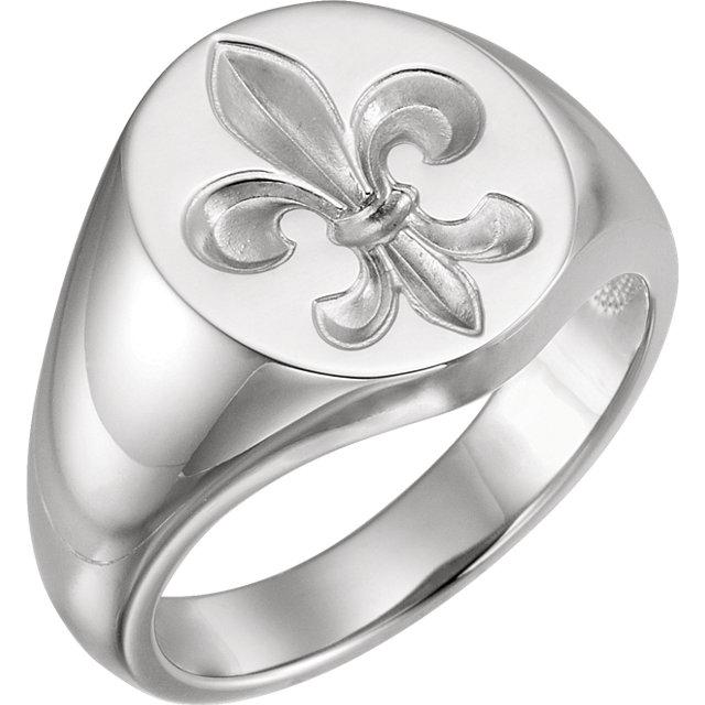 Sterling Silver Men-s Fleur-de-lis Signet Ring