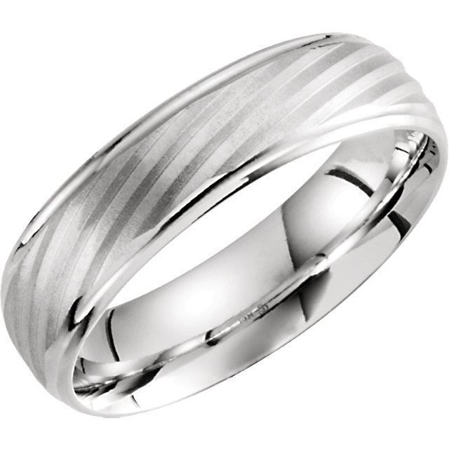 14K White 6mm Grooved Band 10