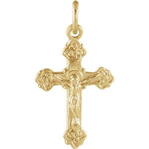 14K Yellow 14x9mm Children-s Crucifix Pendant