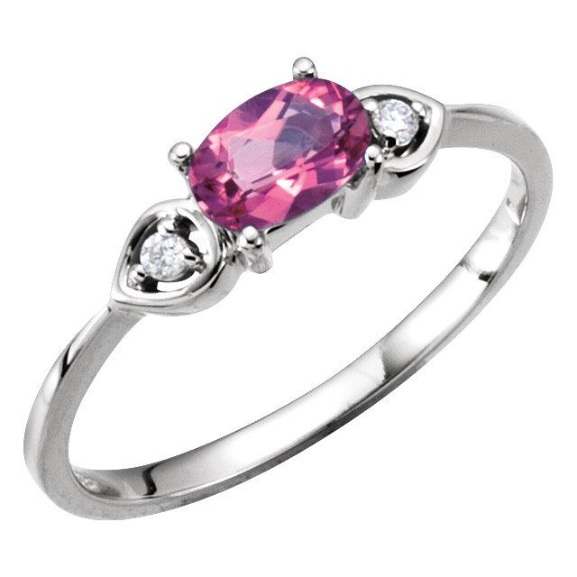 Pink Tourmaline & Diamond Accented 3-Stone Ring