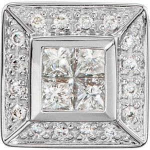 Pendant, 14K White 3/8 CTW Diamond Cluster Pendant