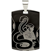 Black Immerse Plated Stainless Steel Dog Tag Pendant