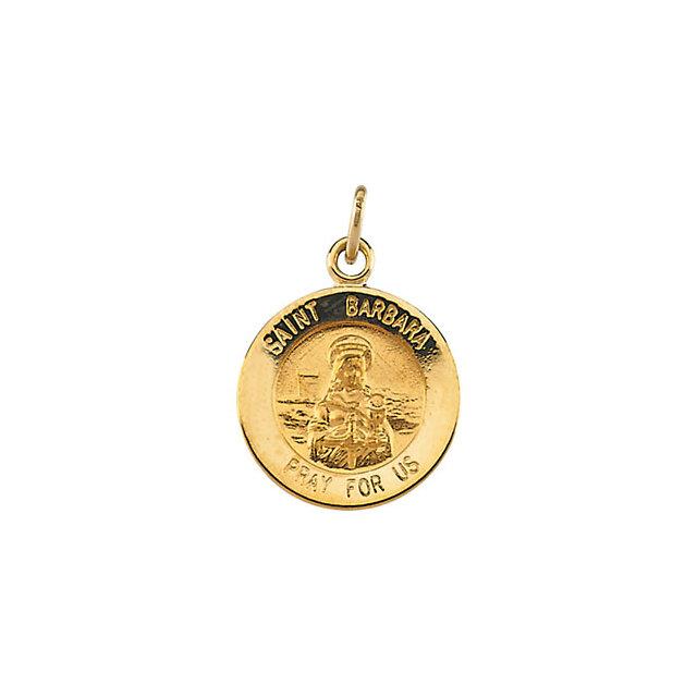 14K Yellow 12 mm St. Barbara Medal