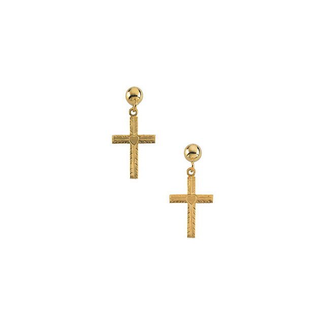 14K Yellow 13x10mm Cross Ball Dangle Earrings