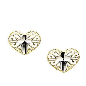 14K Yellow & White 7x9.25 Cross Heart Earrings