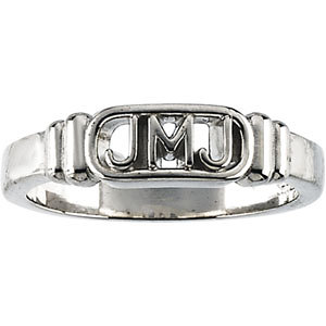 Sterling Silver Jesus, Mary and Joseph Ring Size 6