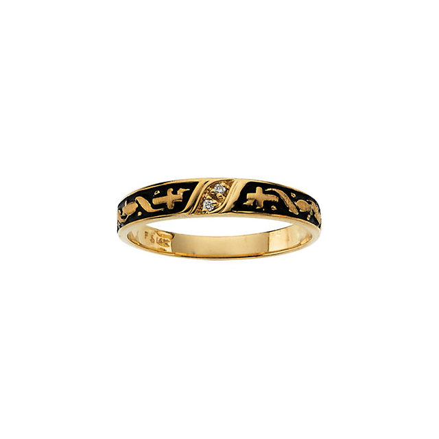 14K Yellow Ladies Religious Diamond Band