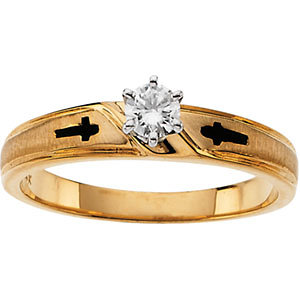 Cross Solitaire Engagement Ring or Duo Band