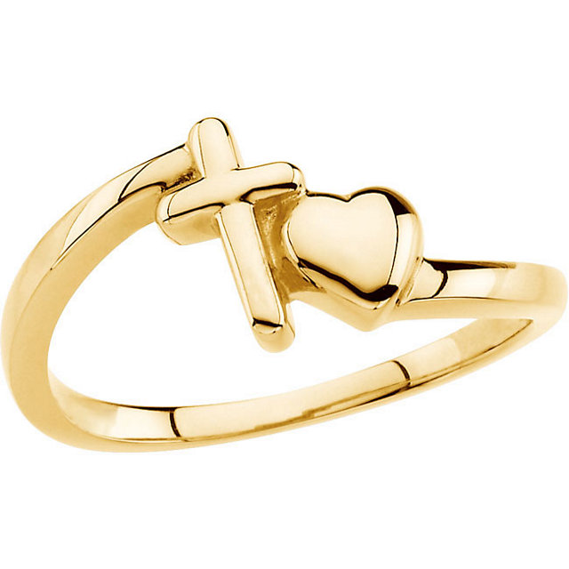 14K Yellow Cross & Heart Chastity Ring